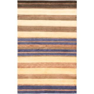 Ecarpetgallery Hand-knotted Aurora Blue and Brown and Yellow Wool Rug (5'3 x 8'3)