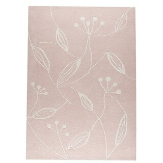 Indian Hand-tufted Flora Pink Rug (5'6 x 7'10)