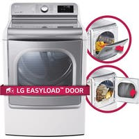 LG DLGX7701WE 9.0 cu.ft. MEGA Capacity TurboSteam Dryer with EasyLoad Door in White