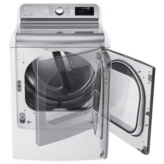 LG 9.0 Cu. Ft. Mega Large Capacity TurboSteam Dryer With EasyLoad Door in White, Model DLEX7700WE