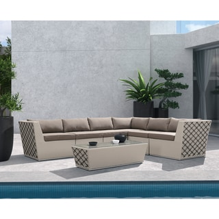 Armen Living Contemporary Outdoor Wakiki 7-piece Outdoor Wicker Sectional Set with Taupe Cushions