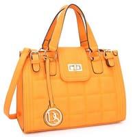 Dasein Quilted Satchel Handbag with Buckled Details