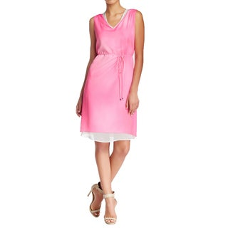 Elie Tahari Women's Fergie Pink Belted Sheath