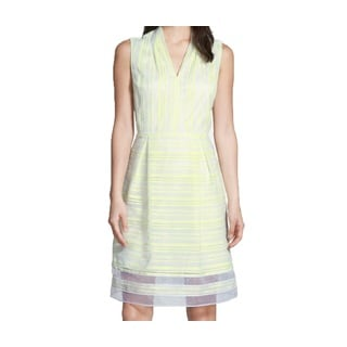 Tahari Sully Yellow and White Striped Dress