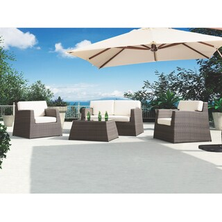 Armen Living Transitional Aruba 4-piece Outdoor Wicker Set with White Cushions