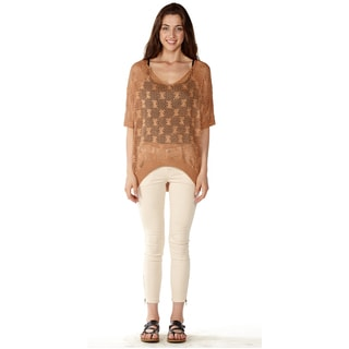 Dinamit Women's V-neck Cotton Knit Crochet Batwing Sweater