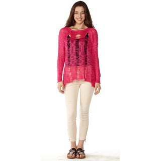 Dinamit Junior Loose Knit Pullover Pink Sweater