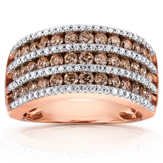 Annello by Kobelli 10k Gold 1 1/2ct TDW Brown and White Diamond Multi Row Ring (H-I, I1-I
