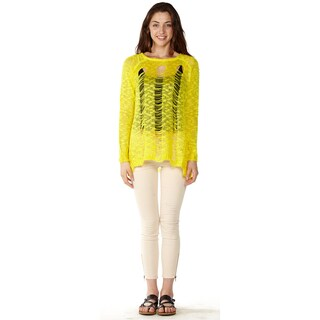 Dinamit Junior Loose Knit Pullover Yellow Sweater
