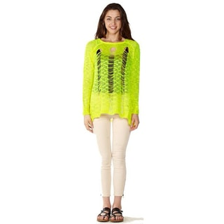 Dinamit Junior Loose Knit Pullover Green Sweater