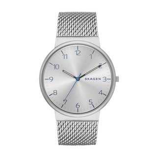 Skagen Men's Stainless Steel Mesh Ancher Silver Watch