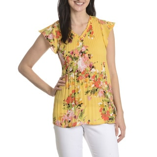 Sunny Leigh Women's Floral Print Pleated Top
