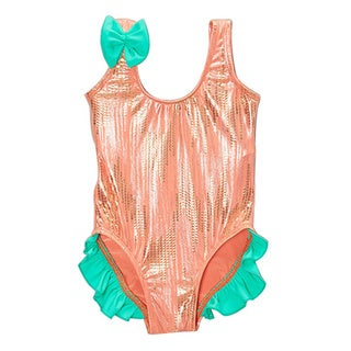 Famous Maker Infant and Toddler's Orange Mermaid One Piece Swimdress with Ruffles