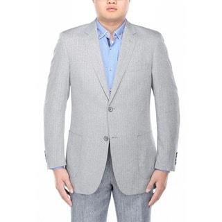 Verno Filippo Men's Grey Herringbone Textured Classic Fit Italian Styled Blazer