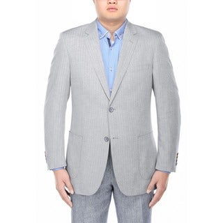 Verno Filippo Men's Grey Herringbone Textured Classic Fit Italian Styled Blazer