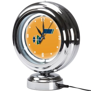 Utah Jazz NBA Chrome Retro Style Tabletop Neon Clock