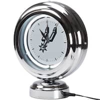 San Antonio Spurs NBA Chrome Retro Style Tabletop Neon Clock