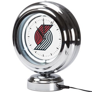 Portland Trailblazers NBA Chrome Retro Style Tabletop Neon Clock
