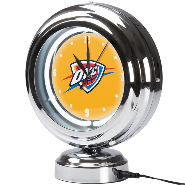 Oklahoma City Thunder NBA Chrome Retro Style Tabletop Neon Clock