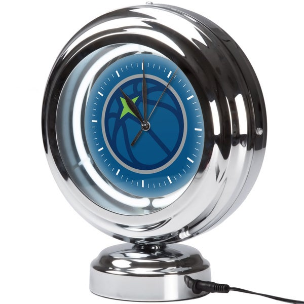 Minnesota Timberwolves NBA Chrome Retro Style Tabletop Neon Clock