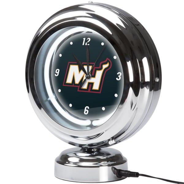 Miami Heat NBA Chrome Retro Style Tabletop Neon Clock