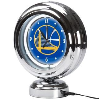 Golden State Warriors NBA Chrome Retro Style Tabletop Neon Clock