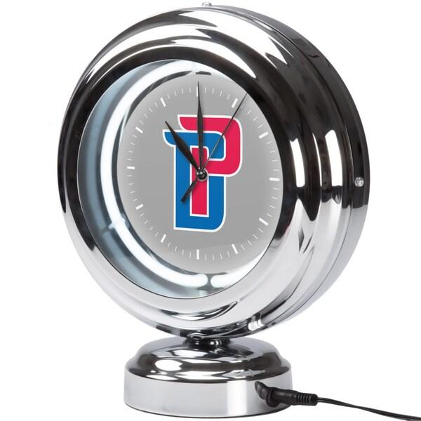 Detroit Pistons NBA Chrome Retro Style Tabletop Neon Clock
