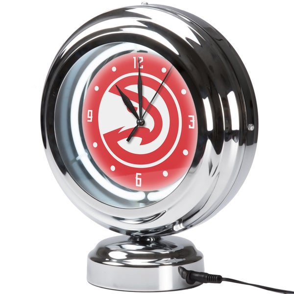 Atlanta Hawks NBA Chrome Retro Style Tabletop Neon Clock