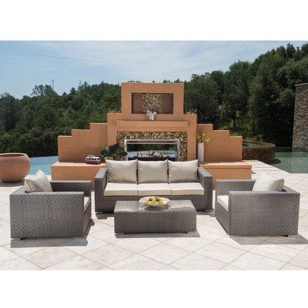 Corvus Diana Piece Grey Wicker Patio Furniture Set Free - Wicker patio furniture sets
