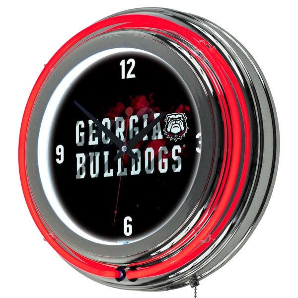 University of Georgia Chrome Double Rung Neon Clock - Smoke