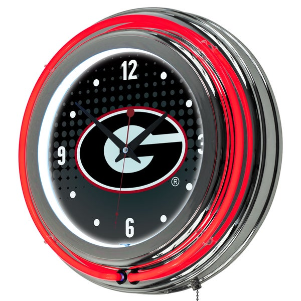 University of Georgia Chrome Double Rung Neon Clock - Reflection