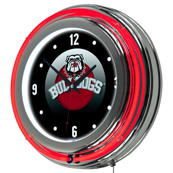 University of Georgia Chrome Double Rung Neon Clock - Honeycomb