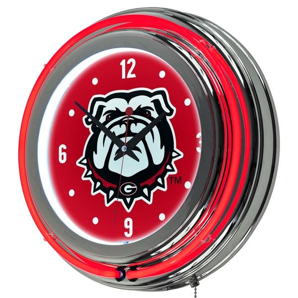 University of Georgia Chrome Double Rung Neon Clock
