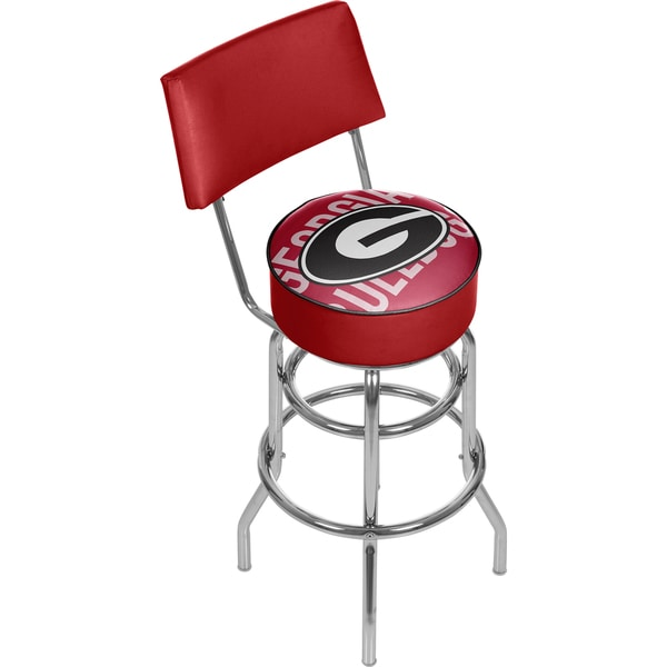 University of Georgia Swivel Bar Stool with Back - Wordmark