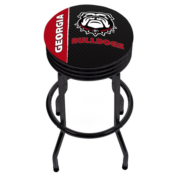 University of Georgia Black Ribbed Bar Stool - Text
