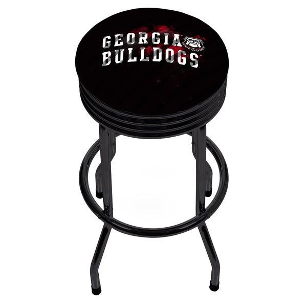 University of Georgia Black Ribbed Bar Stool - Smoke