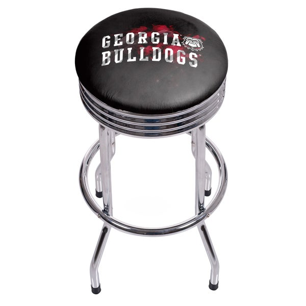 University of Georgia Chrome Ribbed Bar Stool - Smoke