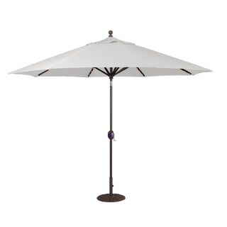 11' Auto Tilt LED Umbrella with Antique Bronze Pole and Black Shade