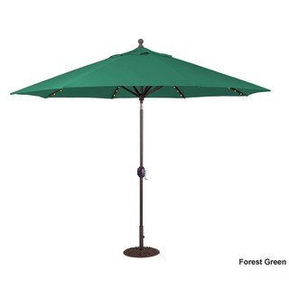 Galtech 9 ft. Auto Tilt LED Umbrella with Antique Bronze Pole and Sunbrella Shade