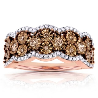 Annello 10k Gold 1/2ct TDW Brown and White Diamond Illusion Ring (H-I, I1-I2)