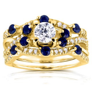 Annello 14k Yellow Gold 1 1/3ct TCW Diamond and Blue Sapphire Double Bands Bridal Set (H-I, I1-I2)