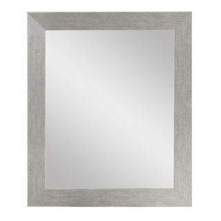 BrandtWorks Large Stainless Grain Wall Mirror 32 X 38 - Silver