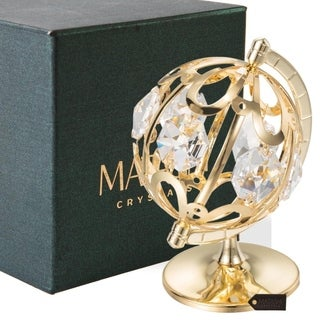 24k Goldplated Spinning Globe Table Top Made with Genuine Matashi Crystals