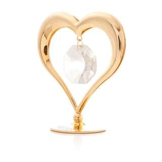 Valentine Gift 24k Gold Plated Heart with Hanging Crystal In the Middle Table Top Made with Genuine Matashi Crystals
