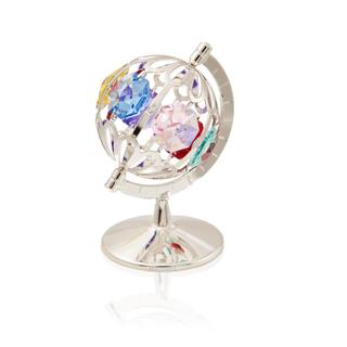 Silverplated Highly Polished Colored Small Spinning Globe Table Top Made with Genuine Colorful Matashi Crystals