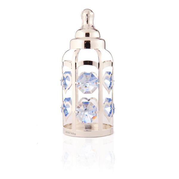 shop silverplated highly polished baby bottle with light blue crystals ornament made with. Black Bedroom Furniture Sets. Home Design Ideas