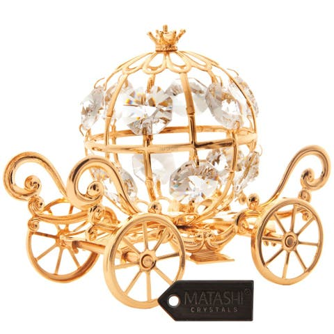 Goldplated Mini Cinderella Inspired Pumpkin Coach Made with Genuine Matashi Crystals