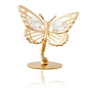 24k Goldplated Elegant Moving Butterfly Table Top Made with Genuine Matashi Crystals