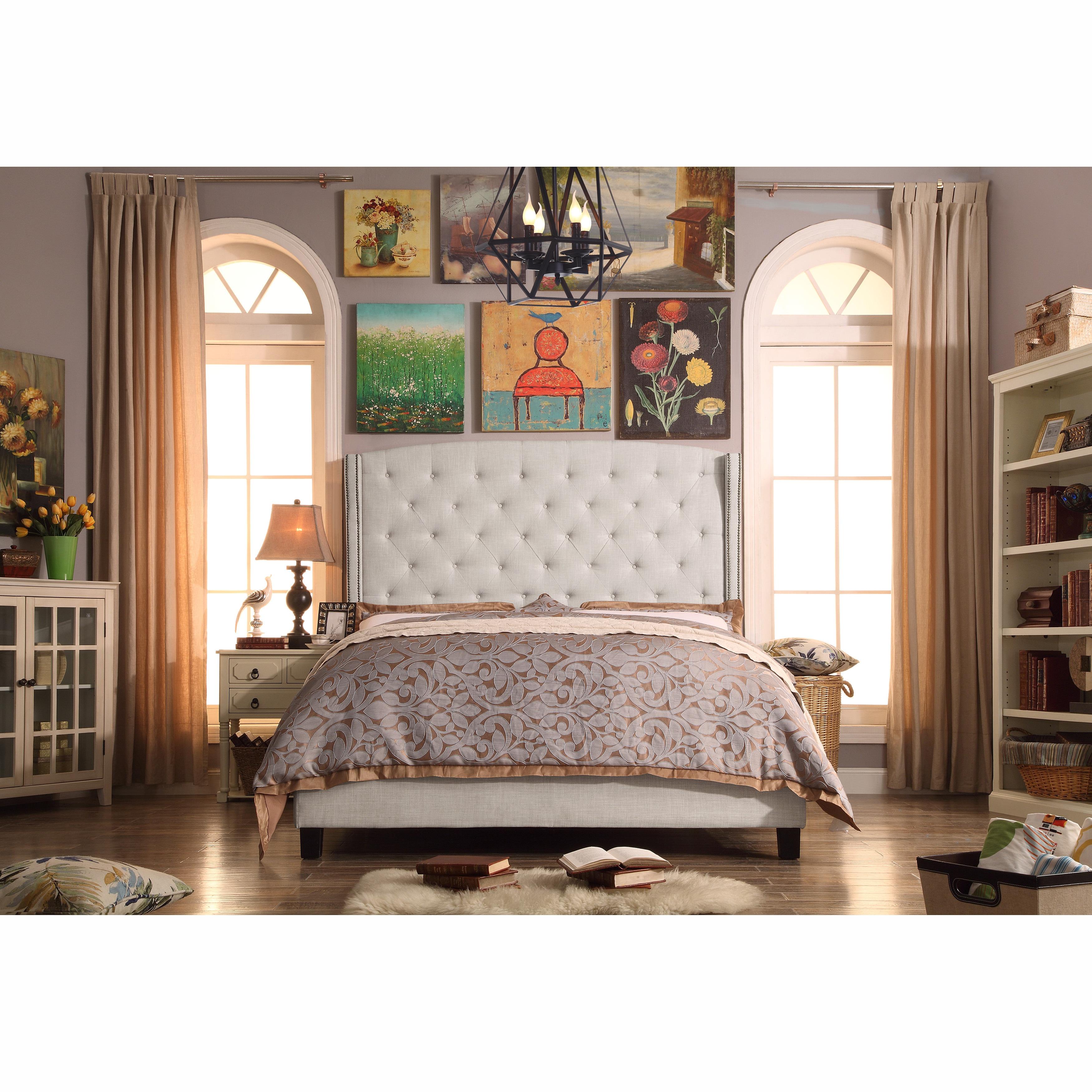 Moser Bay Full Size Tufted Wingback Upholstered Bed Set (...