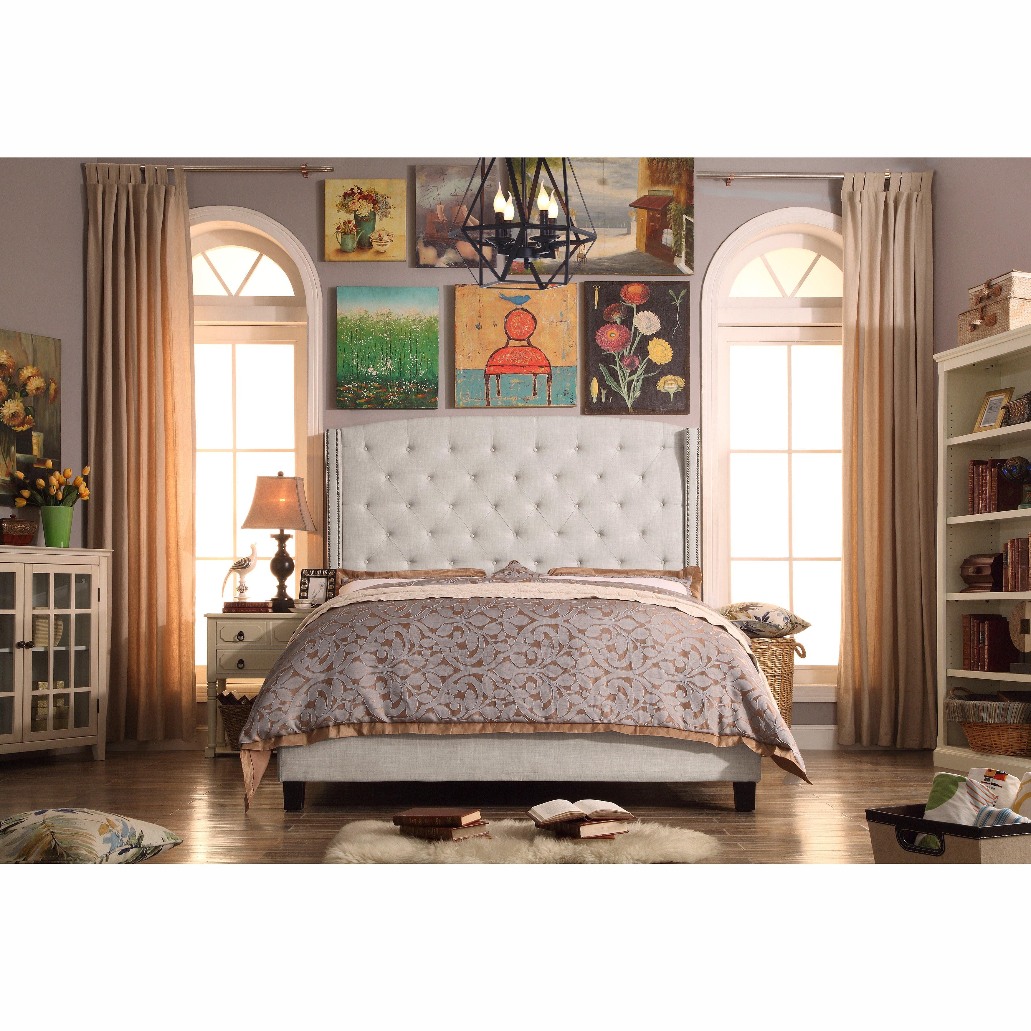 Shop Black Friday Deals On Moser Bay King Tufted Wingback Upholstered Bed Set Overstock 11542609 Beige